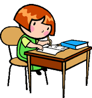 Cartoon girl working at a desk