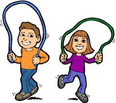 Cartoon boy and girl with skipping ropes
