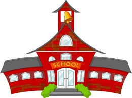 School building cartoon with bell