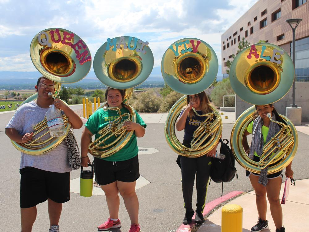 The tuba section of the Jaguar Pride Marching Band