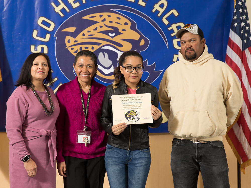 January 2018 Student of the Month - Joslyn Barboa with Mr. Mozjieko