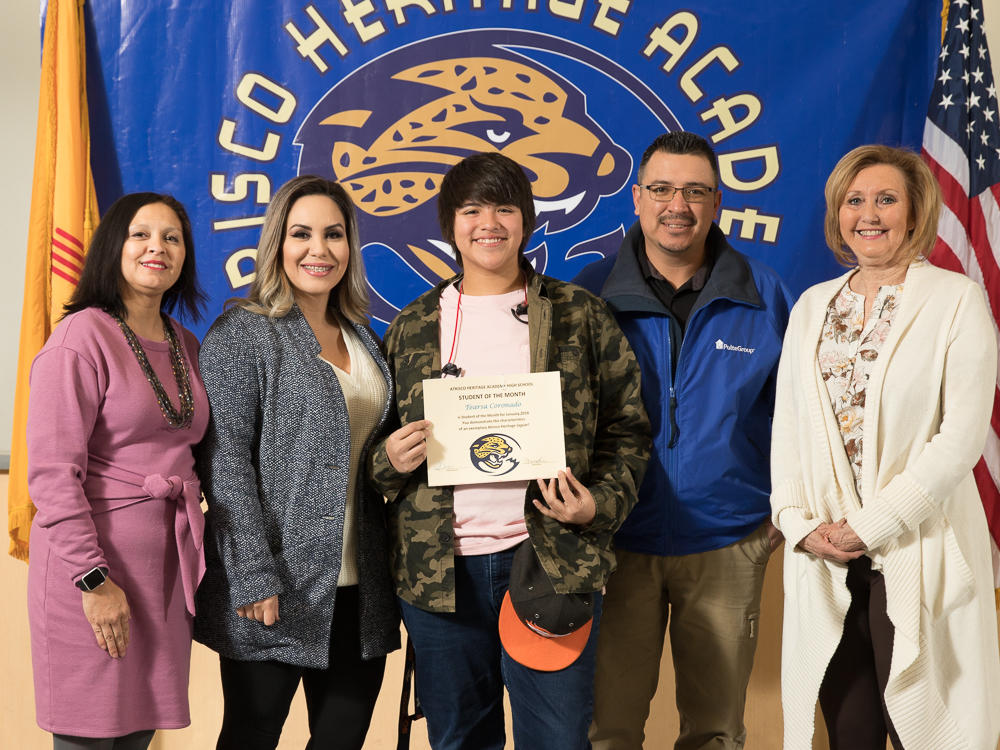 January 2018 Student of the Month - Brisa Barraza-Ochoa with Ms. Reynolds