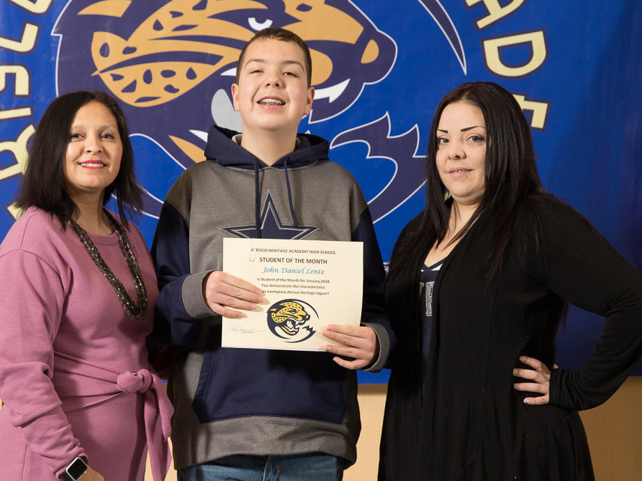 January 2018 Student of the Month - Angel Fernandez with Mr. Newman