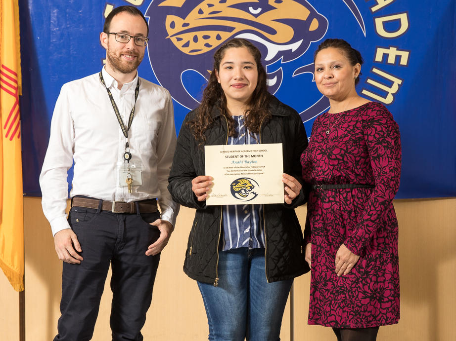 February 2018 Student of the Month Anahi Baylon with Mr. Mondejar