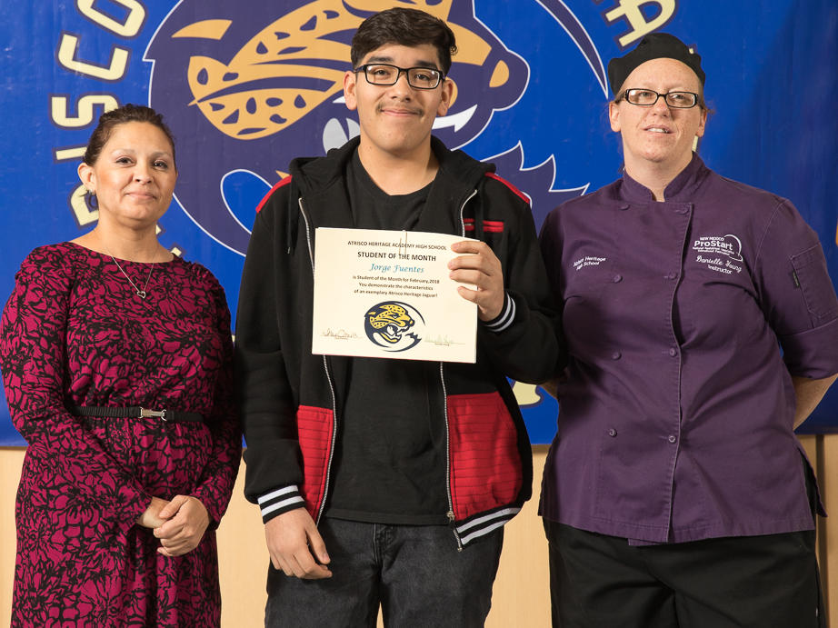 February 2018 Student of the Month Sipriano Flores with Mrs. Krenrich