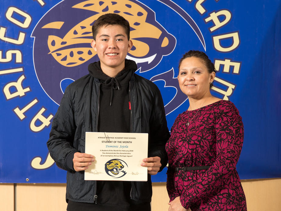 February 2018 Student of the Month Marah Rosales with Ms. Maestas-Gilbreath