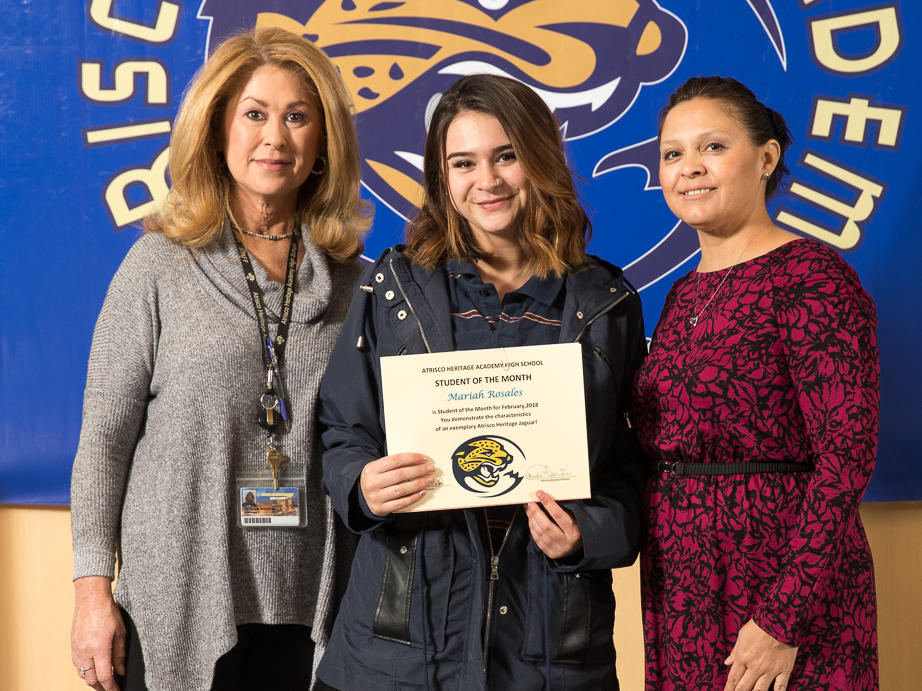 February 2018 Student of the Month Fernando Gutierrez with Ms. Molins