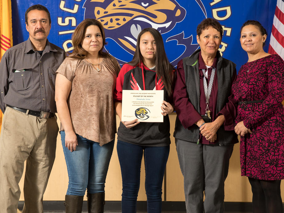 February 2018 Student of the Month Andrea Sierra with Mr. Mondejar