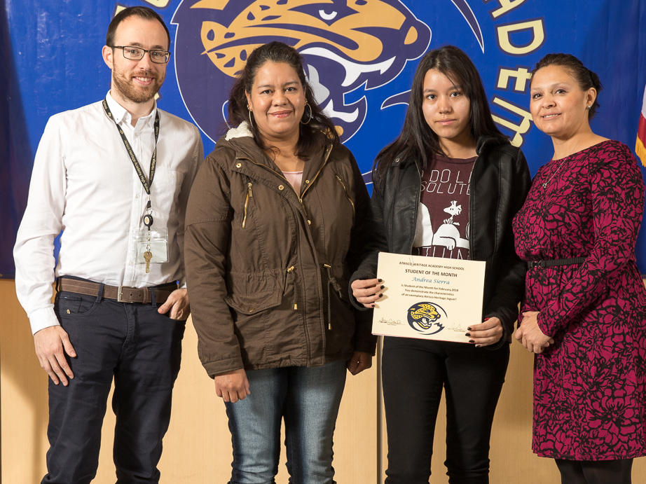 February 2018 Student of the Month Adriana Vargas with Ms. Rice