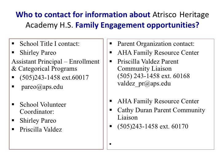 2017-2018 Atrisco Heritage Academy HS Title 1 Annual Meeting