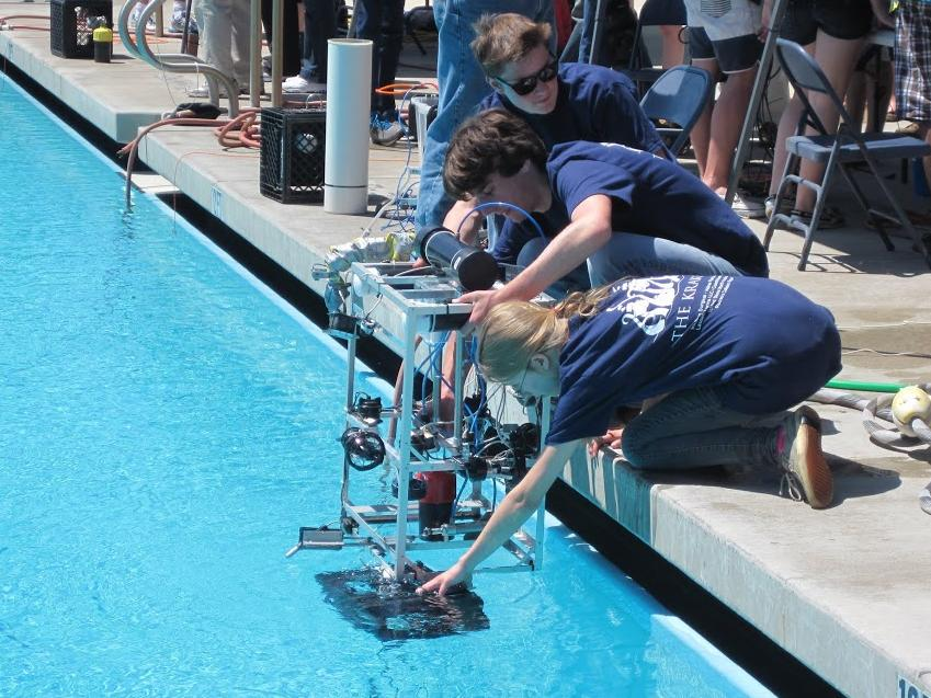 ROV going into the pool