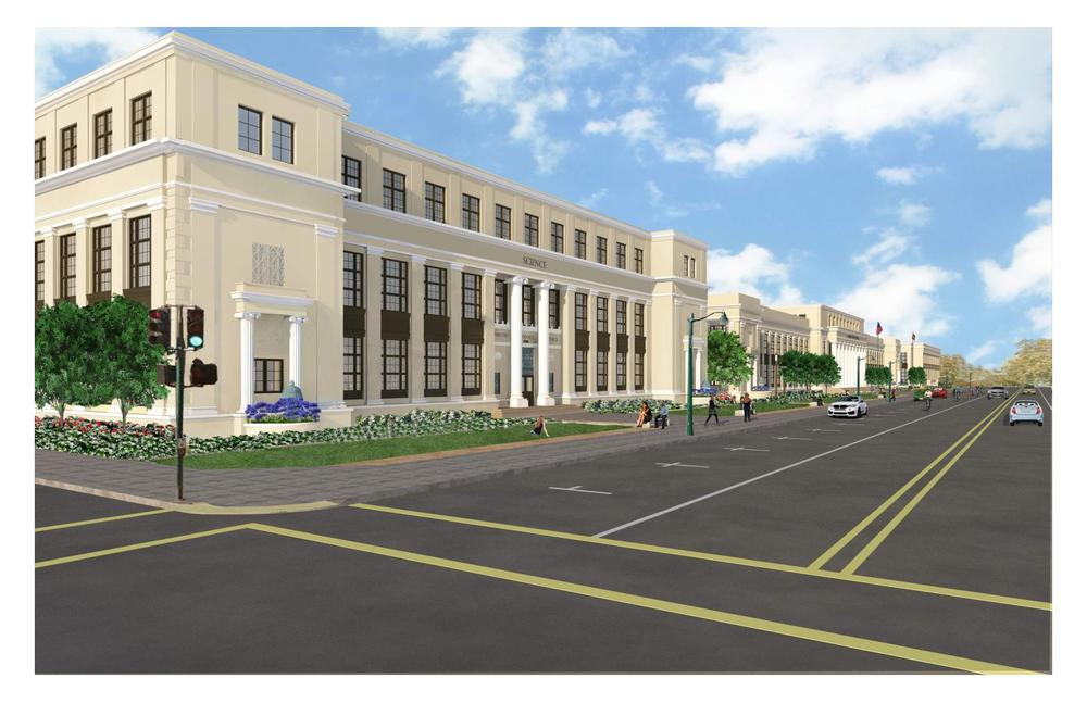 Artis rendering of the front of science building