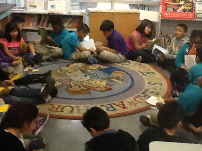 Students Using the Book Talk and Reading w a Post-it Strategy to delve deeper into Reading and Discussions