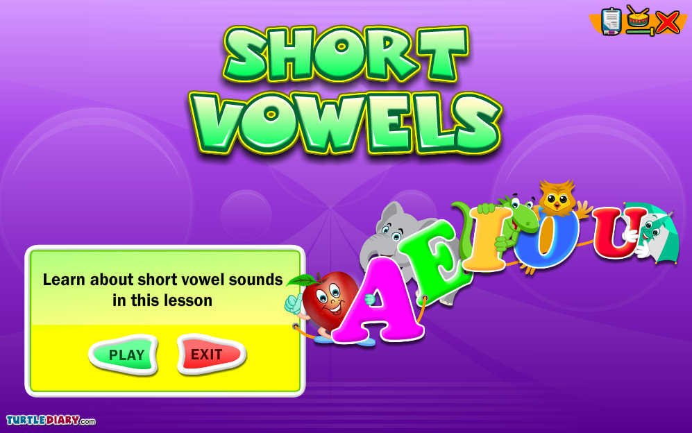 Turtle Diary Short Vowel Match