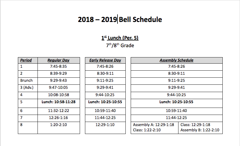 Bell Schedule First Lunch