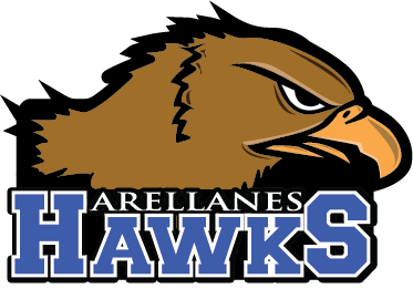 Hawks head facing right with written letters Arellanes Hawks