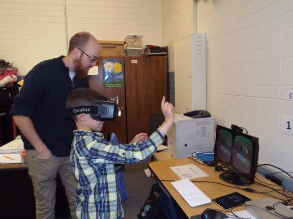 Hour of Code Guest Game Programmer; Kurt Hollowell shows us Oculus Rift Virtual  Reality Glasses!