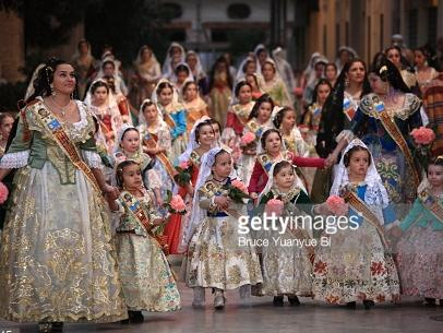 La ofrenda ceremony bringing flowers to the Virgin of the Hopeless, the patron  virgin of the city of Valencia