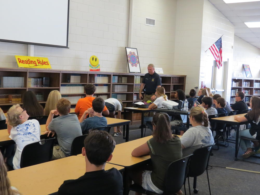 Officer Meadows pesenting to the Nautilus team about the negative effects of  teen drinking