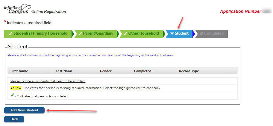 Online Registration Student Tab screen shot