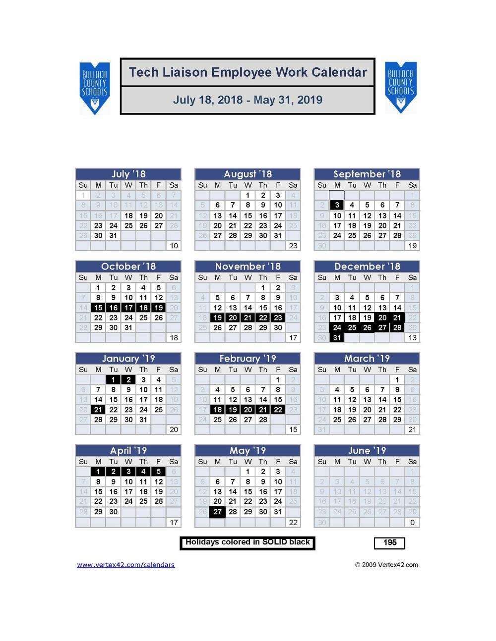 Technology Liaison Work Calendar