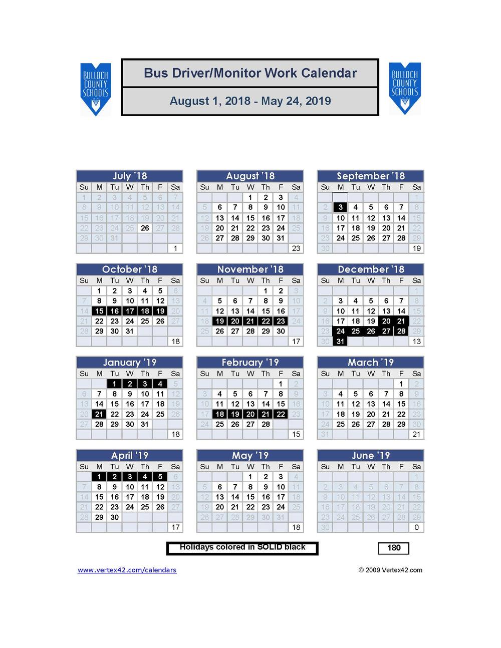 Bus Driver and Bus Monitor Calendar