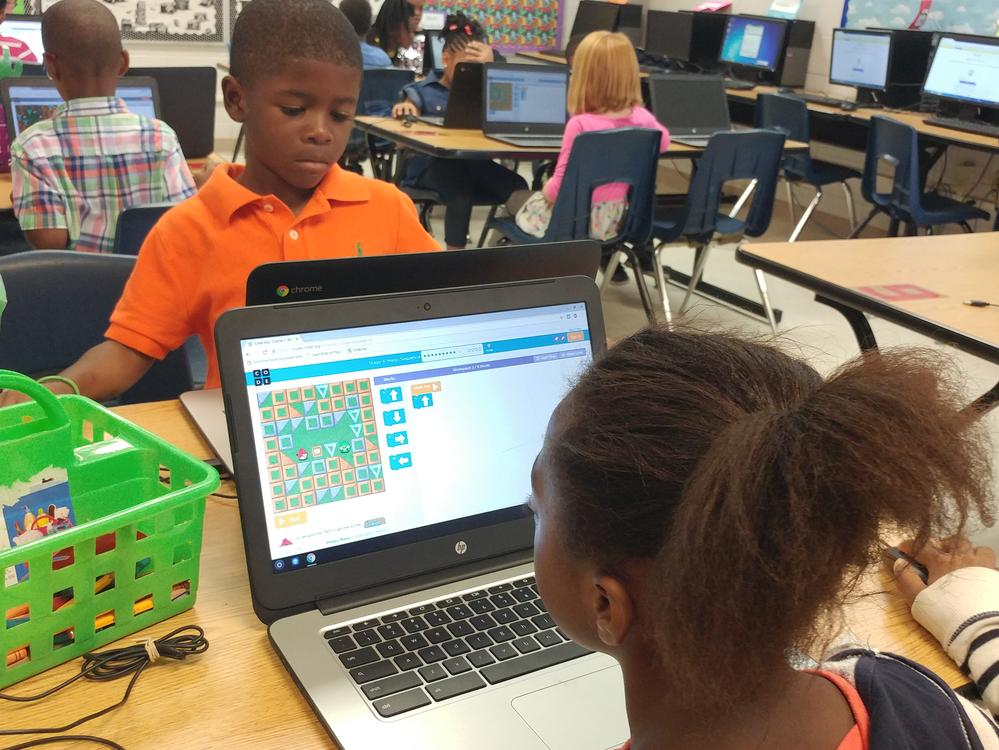 Students learning to code