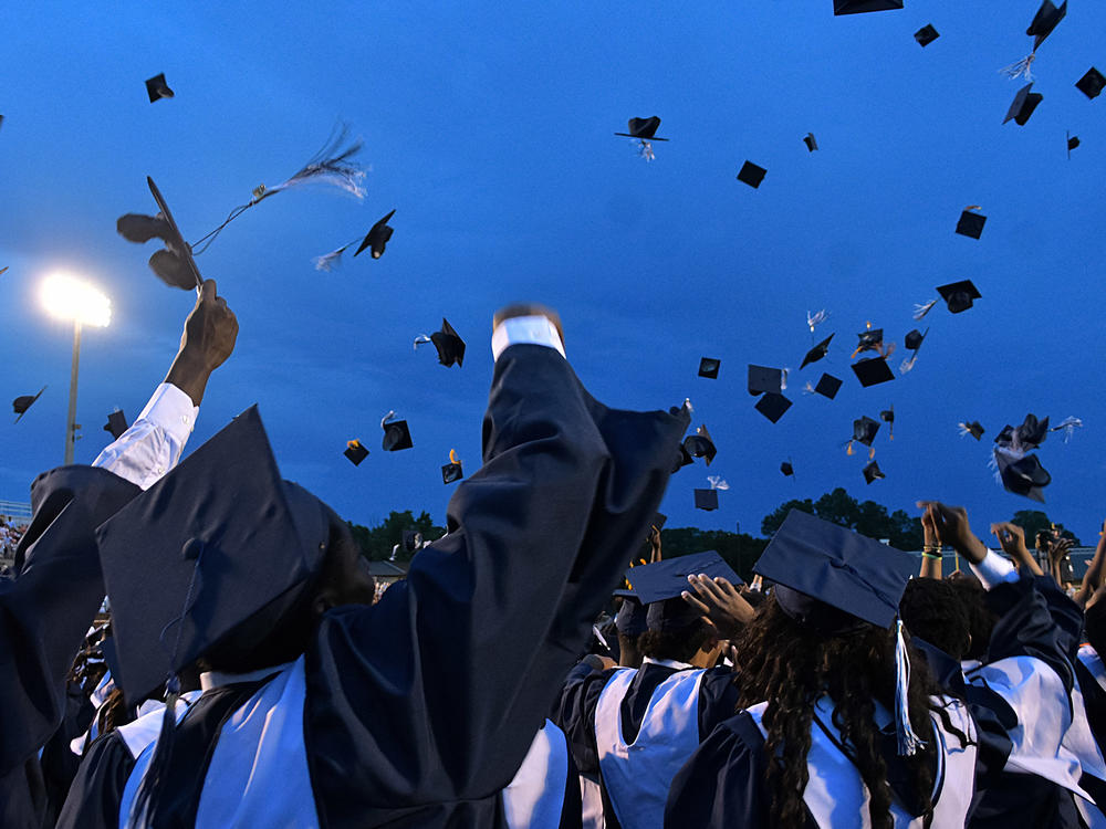 Picture of 2018 graduates throwing their caps