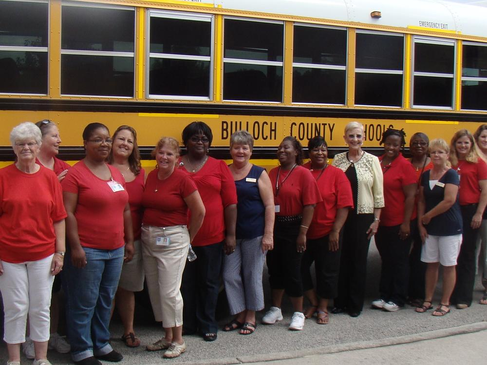 Bus drivers with First Lady Sandra Deal during Stop Means Stop Bus Safety  Campaign