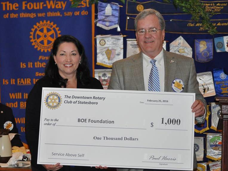 Foundation Board receives donation from Rotary International