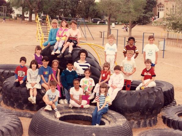 Giant tires on the old dirt playground