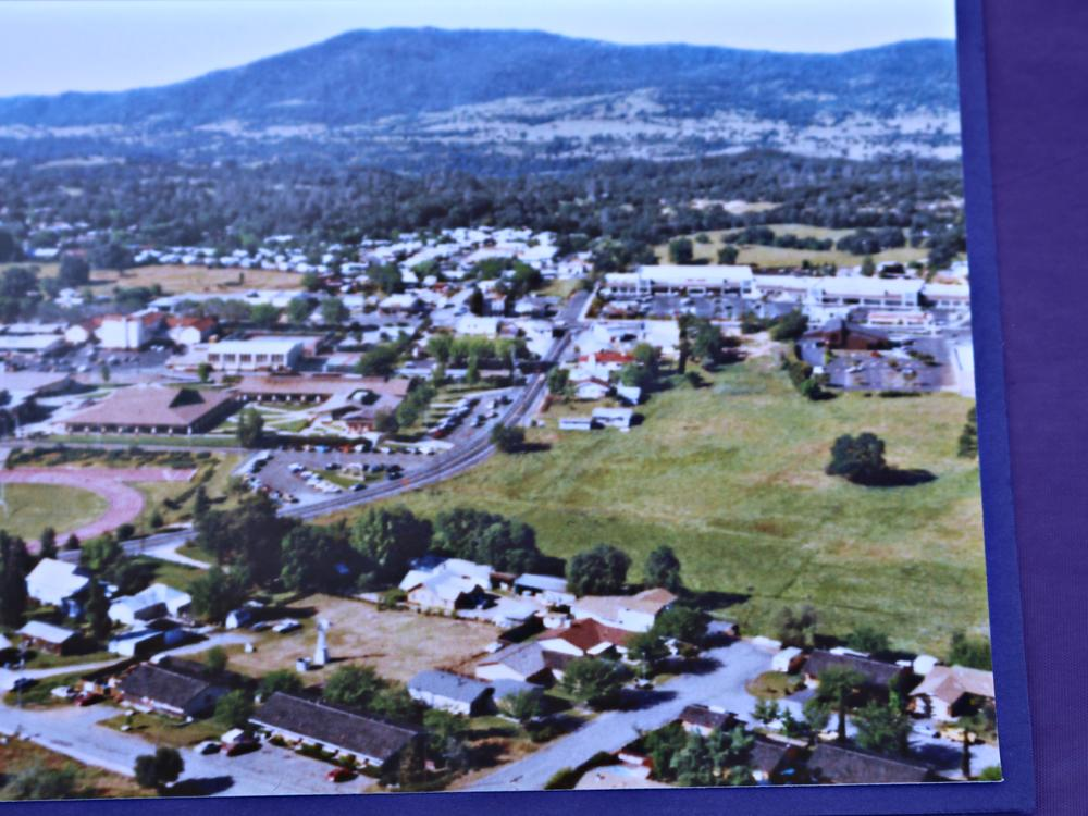 an arial picture of the land before the Aquatics Center was built