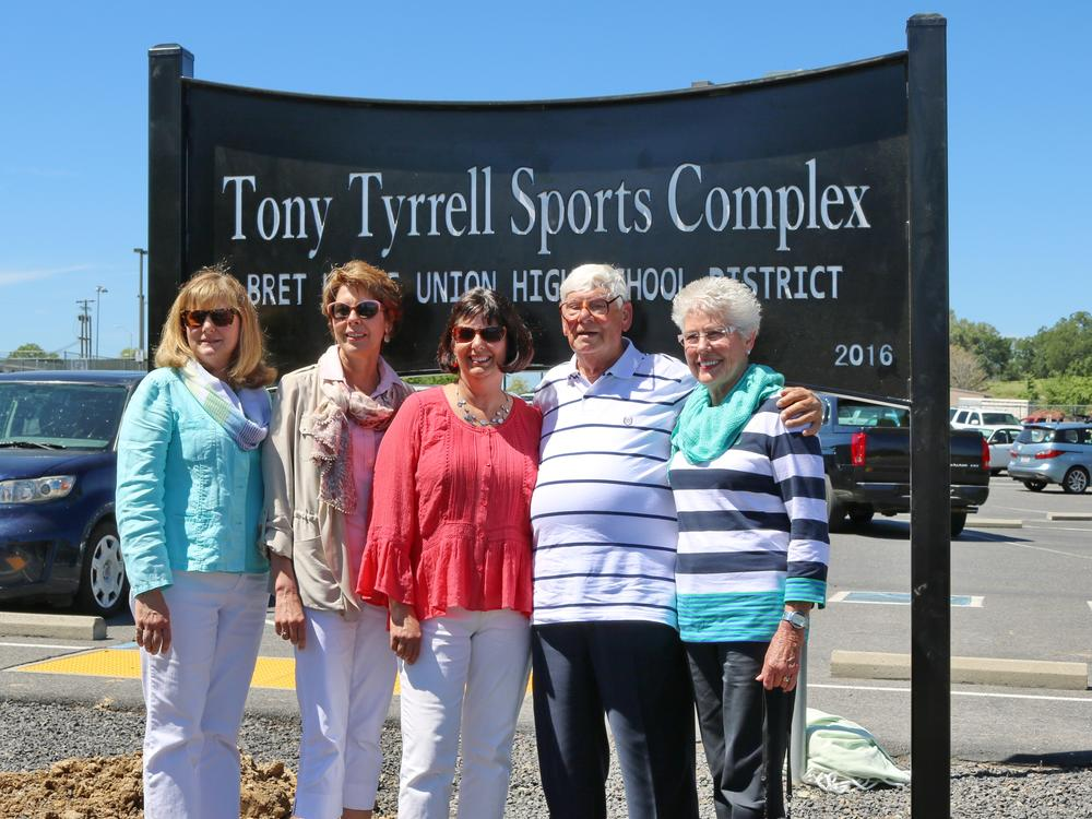 A plaque dedicating the Sports Complex as the Tony Tyrrell Sports Complex