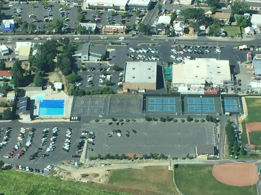 Another aerial view of the football and soccer field