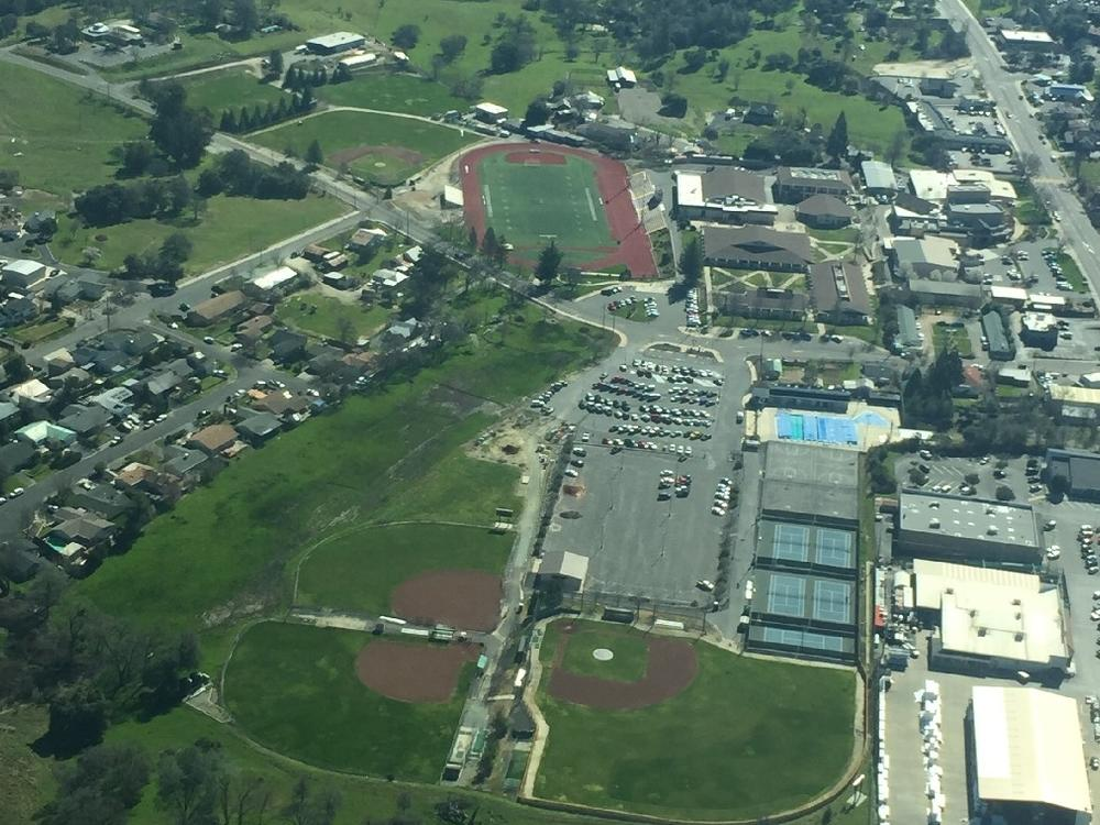 Aerial view of the softball and baseball fields