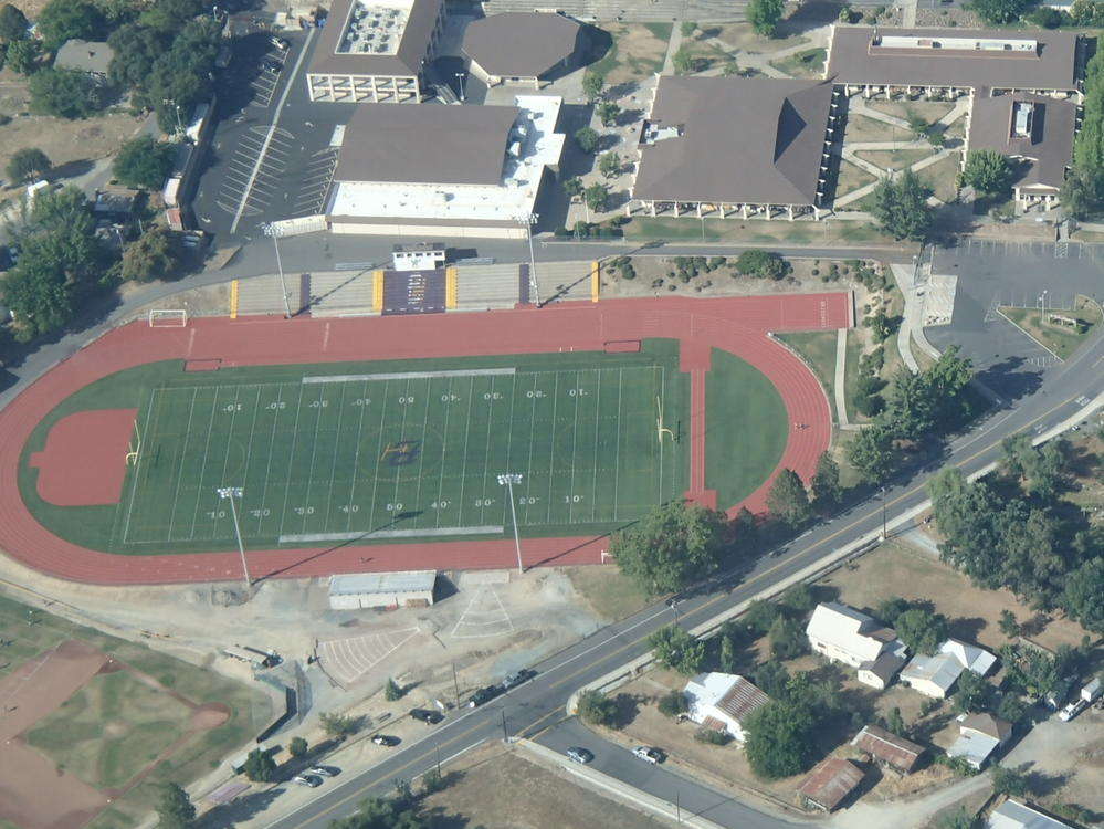 Aerial view of the football field