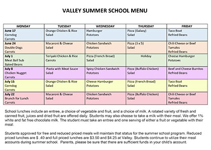 Valley menu