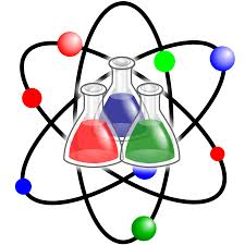 atom with beakers