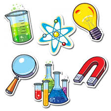 test tubs, light bulb, magnet, atom