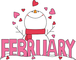 Snowman, hearts, and the word February