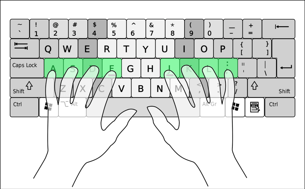 Keyboard with fingers on home row keys