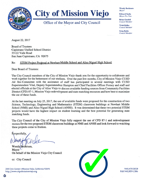 Mission Viejo Support Letter
