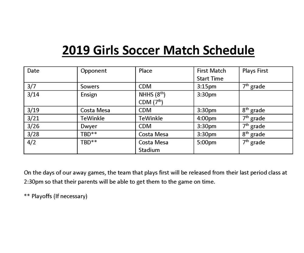 Girls Soccer Schedule