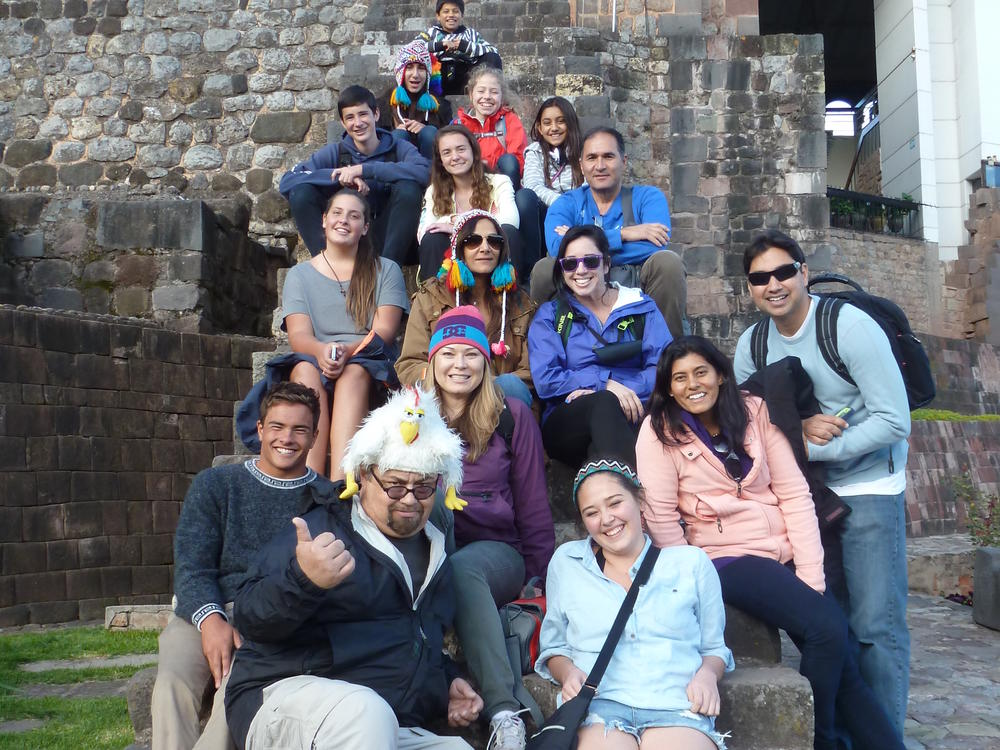 group pic at the cathedral in cuzco, peru