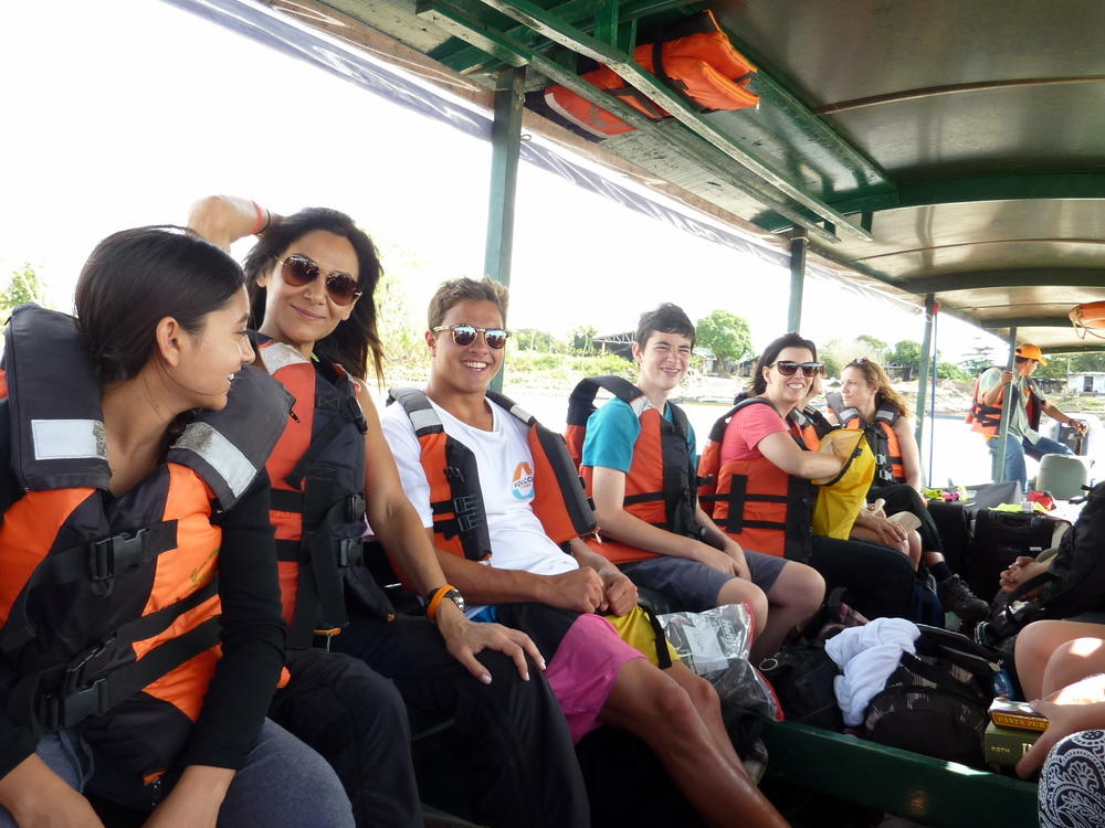p On our way to the Amazon jungle where we will stay at an eco-lodge. Two hour  boat ride to get there!! p