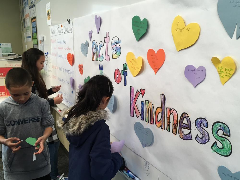 Great Kindness Challenge, Kindness Wall Slideshow cutting in the makerspace.