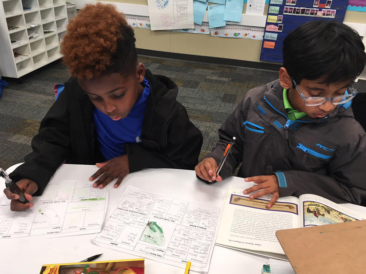 Students reading and writing.