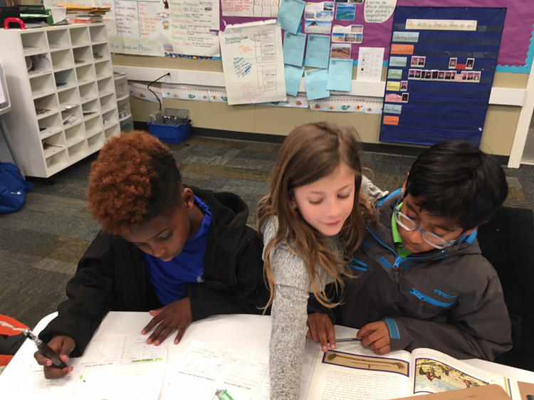 Students writing about Indians.
