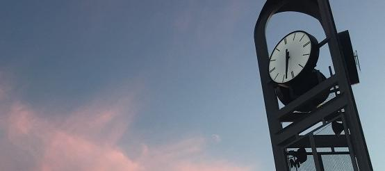 The clock tower at sunset.