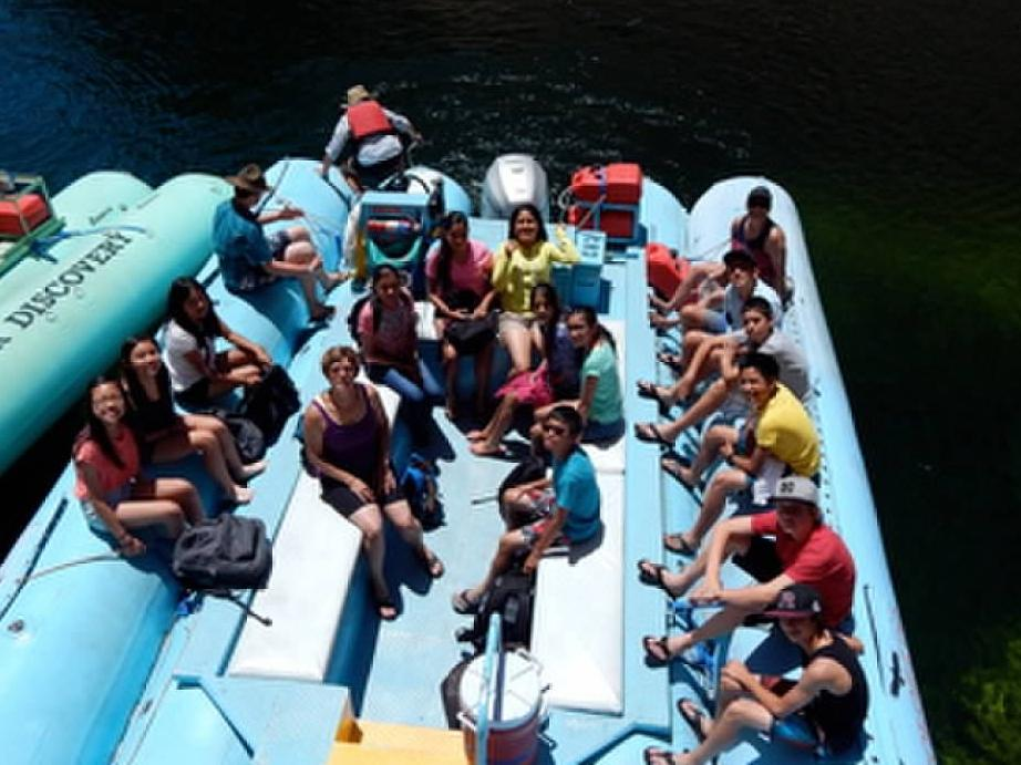8th Grade students on the Colorado River during the Arizona Field Trip.